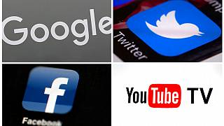 This photo combo of images shows, clockwise, from upper left: a Google sign, the Twitter app, YouTube TV logo and the Facebook app.
