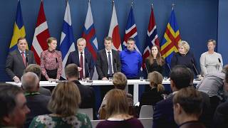Members of the Nordic Council speak at a press conference after a 2019 Session at the Swedish Government headquarters Rosenbad in Stockholm.
