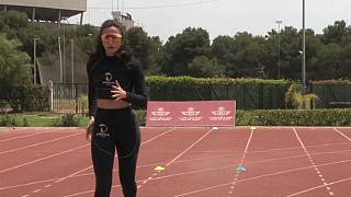 Moroccan Olympic-bound high jumper Rhizlane Siba trains during Ramadan