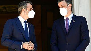 Kyriakos Mytsotakis und Pedro Sanchez in Athen