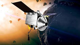 Osiris-Rex'in Bennu asteroidinde gösteren NASA illüstrasyonu