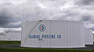 Colonial Pipeline storage tanks are seen in Woodbridge, New Jersey on Monday, 10 May, 2021. The company has been hit by a major cyberattack.