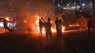 Palestinian demonstrators during an anti-Israel demonstration, at the Qalandiya checkpoint between Ramallah and Jerusalem.