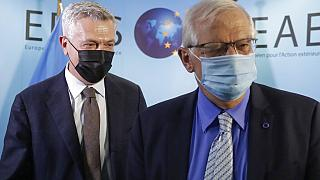 UN High Commissioner for Refugees Filippo Grandi, left, walks with EU foreign policy chief Josep Borrell prior to a meeting at the EEAS building in Brussels, Tuesday, May 11,