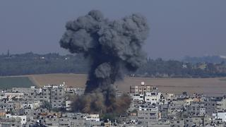 Smoke rises after an Israeli airstrike in Gaza in Gaza City, Tuesday, May 11, 2021.