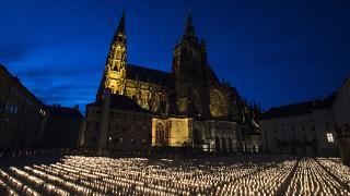 Candles are placed at the Prague Castle to commemorate victims of the COVID-19 pandemic.