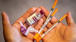 تظهر الصورة مجموعة من جرعات الأنسولين في ولاية مينيسوتا.الامريكية، 17 يناير 2020