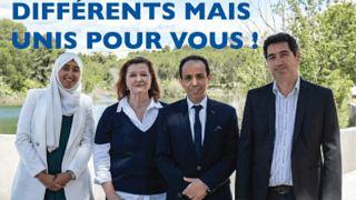 صورة من وسائل تواصل الاجتماعيي، تظهر سارة زماحي، شمال الصورة، مرشحة الانتخابات المحلية في فرنسا، وهي ترتدي الحجاب