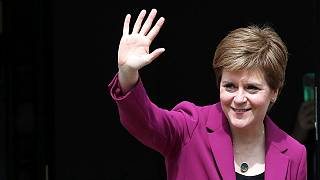 Scotland's First Minster and Scottish National Party leader Nicola Sturgeon poses for photographers, at Bute House in Edinburgh, Scotland. Sunday, 9 May, 2021.