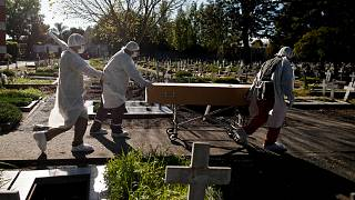 Cemetery workers push the coffin of a COVID-19 victim at a cemetery in Buenos Aires, Argentina, May 8, 2021.