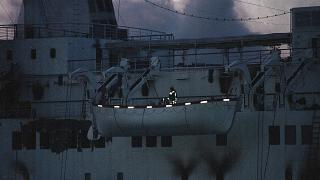 The ferry was towed to Lysekil harbour after a fire broke out while crossing from Norway to Denmark.