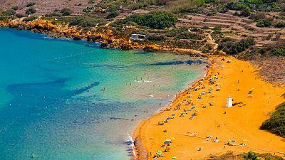 One of the isle of Gozo's many pristine Maltese beaches