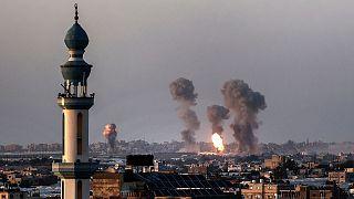 نمای دور از انفجارهای غزه
