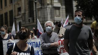 Συγκέντρωση διαμαρτυρίας στην είσοδο του υπουργείου Εργασίας, Αθήνα, Τετάρτη 12 Μαΐου 2021.