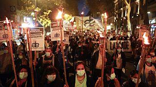 Los profesionales de enfermería se manifiestan en Buenos Aires, Argentina