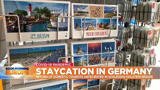 Postcards stand in seaside resort in Northern Germany.