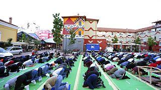 Last year's Eid prayers outside the mosque of Kokonozi in Tirana, Albania