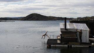 Городской пляж Сёренга в Осло, 25 апреля 2021 г.