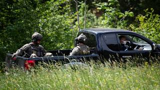 Snipers from the French National Gendarmerie Intervention Group (GIGN) near the village of Plantiers, in the Cevennes region, southern France on May 12, 2021.