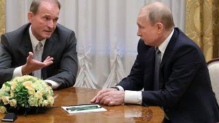 Виктор Медведчук и Владимир Путин на встрече в Санкт-Петербурге, 18 июля 2019 года