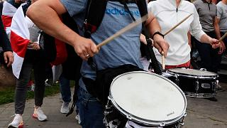 Musicians and drummers have regularly played during Belarusian opposition supporters' rallies.
