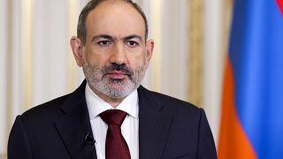 Armenian Prime Minister Nikol Pashinyan delivers an address, in Yerevan, Armenia, Sunday, April 25, 2021.