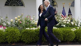 President Joe Biden walks with Vice President Kamala Harris at the White House on May 13, 2021.