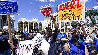 Protesta de los trabajadores de la Ópera Metropolitana de Nueva York