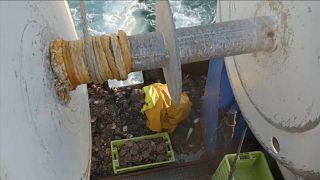 Un pêcheur du navire Le Cap Lihou, le 10 mai 2021.