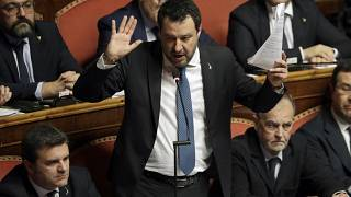 In this Feb. 12, 2020 file photo, then opposition leader Matteo Salvini speaks at the end of the debate at the Italian Senate.