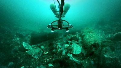 Exposed munitions at the Kolberger Heide marine dumpsite near the city of Kiel, Germany
