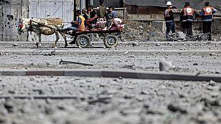 Auf der Flucht vor den Luaftangriffen in Gaza