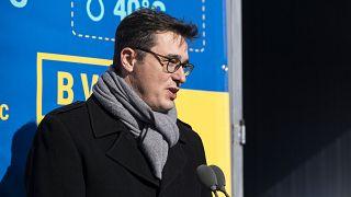 ARCHÍV: Karácsony Gergely főpolgármester beszédet mond a BVSC-Zugló sportkomplexum geotermikus hőellátó rendszerének avatásán 2021. február 18-án.