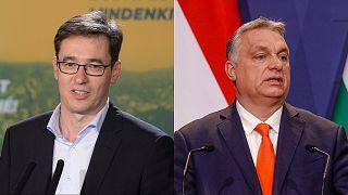 Mayor of Budapest, Gergely Karacsony (left), and prime minister Viktor Orban (right).