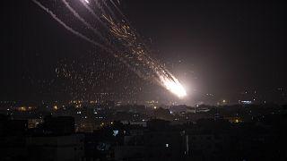 Cohetes lanzados por las milicias palestinas desde Gaza