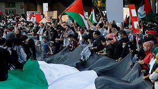 مظاهرة مؤيدة للفلسطينيين في تورونتو بكندا