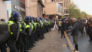 Police clashed with protesters in London.