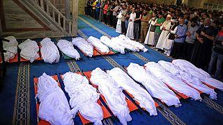 Les dépouilles de Palestiniens tués lors de frappes israéliennes contre Gaza - le 16/05/2021
