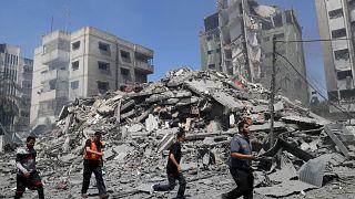 Руины жилого дома в Газе, разрушенного в результате авианалёта в воскресенье 16 мая.