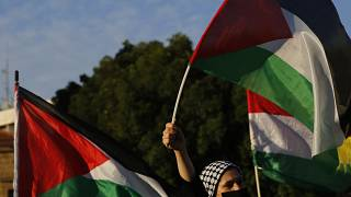 A Palestinian woman living in Cyprus waves a Palestinian flag to protest at Elephtheria, Liberty, square in capital Nicosia, Cyprus