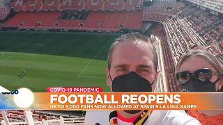 Football fans selfie at empty stadium in Valencia, Spain.