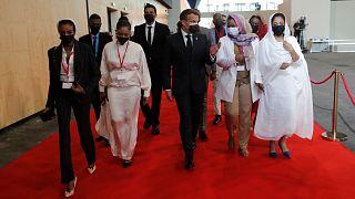ماكرون خلال مؤتمر دعم السودان
