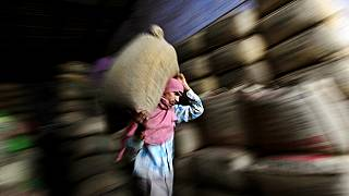 In this photo taken Tuesday, April 17, 2012, an Indian worker carries a sack of tea at a tea factory in Amritsar, India