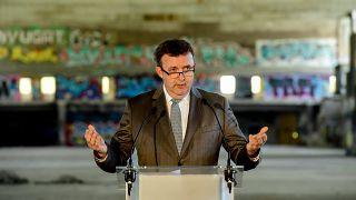 Palkovics László a Budapest Diákváros - Nagyvásártelep és környezete nemzetközi építészeti tervpályázat eredményhirdetésén a budapesti Nagyvásártelepen 2021. április 27-én.