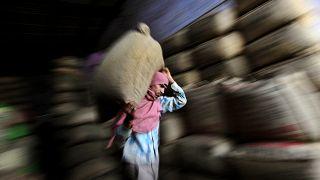 عامل هندي يحمل كيساً من الشاي في مصنع شاي في أمريتسار بالهند، الصورة التقطت يوم الثلاثاء 17 نيسان/أبريل 2012