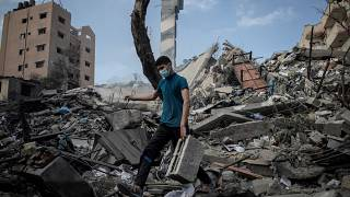 A six-storey building in Gaza City was destroyed by Israel on Tuesday morning