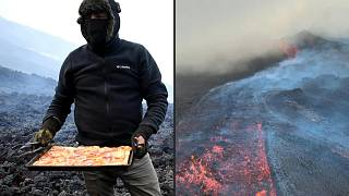 The hot lava gives the pizza a unique crunch