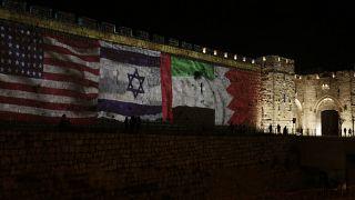 أعلام الولايات المتحدة وإسرائيل والإمارات والبحرين في القدس