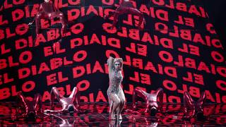 Elena Tsagrinou from Cyprus performs during rehearsals at the Eurovision Song Contest at Ahoy arena in Rotterdam