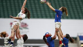 Gaelle Hermet of France catches the ball during a Women's Autumn Nations Cup rugby union international match against England on Nov. 21, 2020.